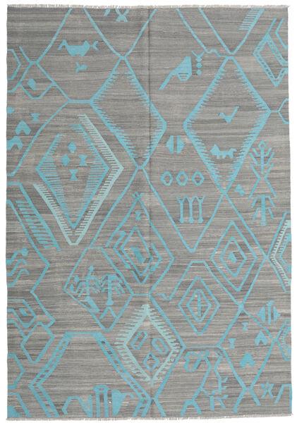 Kelim Moderni Matto 203X292 Moderni Käsinkudottu Tummanharmaa/Vaaleanharmaa/Siniturkoosi (Villa, Afganistan)