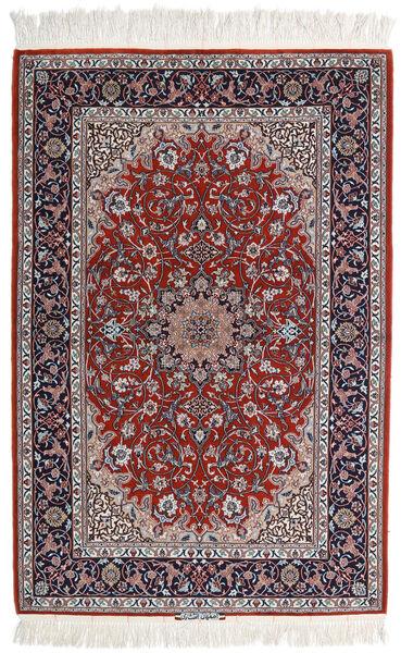 Isfahan Silkkiloimi Matto 110X165 Itämainen Käsinsolmittu Vaaleanharmaa/Tummanpunainen (Villa/Silkki, Persia/Iran)