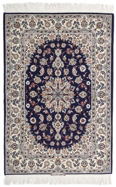 Isfahan Silkkiloimi Allekirjoitettu: Intashari Matto 110X162 Itämainen Käsinsolmittu Vaaleanharmaa/Tummanvioletti (Villa/Silkki, Persia/Iran)