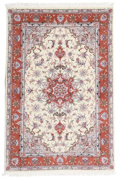 Tabriz 60 Raj Silkkiloimi Matto 101X153 Itämainen Käsinsolmittu Beige/Vaaleanharmaa (Villa/Silkki, Persia/Iran)