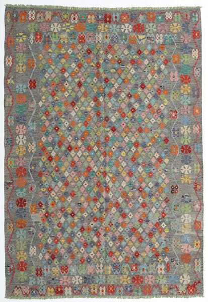 Kelim Afghan Old Style Matto 208X298 Itämainen Käsinkudottu Tummanharmaa/Vaaleanharmaa (Villa, Afganistan)