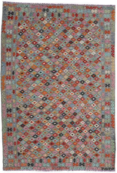 Kelim Afghan Old Style Matto 204X296 Itämainen Käsinkudottu Tummanharmaa/Tummanpunainen (Villa, Afganistan)