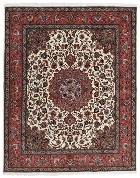 Tabriz 60 Raj Silkkiloimi Matto 201X248 Itämainen Käsinsolmittu Tummanruskea/Tummanpunainen (Villa/Silkki, Persia/Iran)