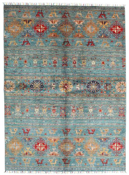 Shabargan Matto 172X235 Moderni Käsinsolmittu Sininen/Tummanvihreä (Villa, Afganistan)