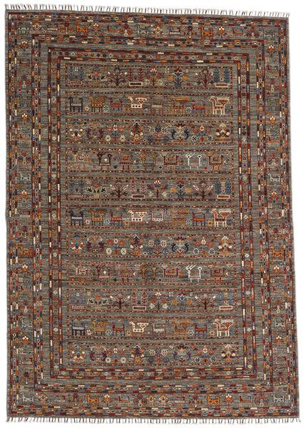 Shabargan Matto 168X244 Moderni Käsinsolmittu Tummanruskea/Tummanharmaa (Villa, Afganistan)
