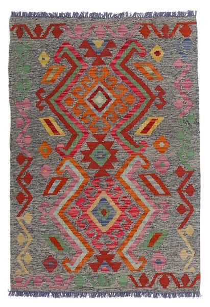 Kelim Afghan Old Style Matto 81X118 Itämainen Käsinkudottu Tummanharmaa/Tummanpunainen (Villa, Afganistan)