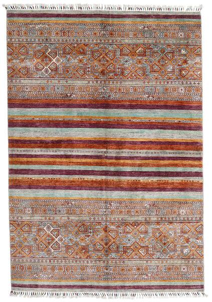 Shabargan Matto 172X248 Moderni Käsinsolmittu Vaaleanharmaa/Tummanpunainen (Villa, Afganistan)