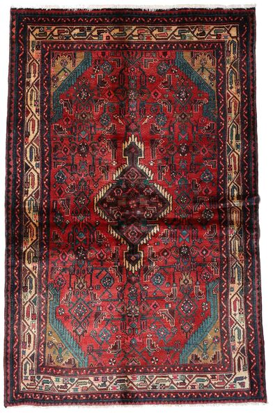 Hamadan Matto 137X210 Itämainen Käsinsolmittu Tummanpunainen/Tummanruskea (Villa, Persia/Iran)