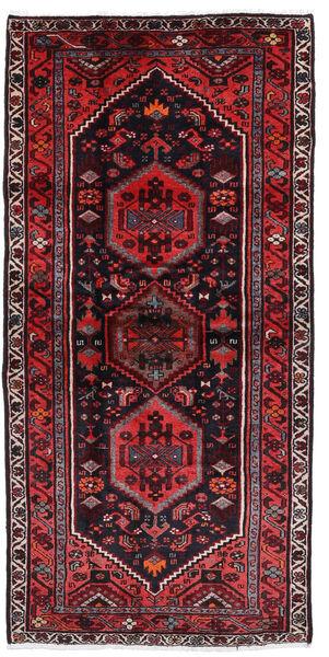 Hamadan Matto 100X205 Itämainen Käsinsolmittu Tummanpunainen/Punainen (Villa, Persia/Iran)