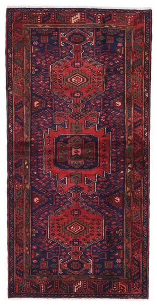 Hamadan Matto 105X210 Itämainen Käsinsolmittu Tummanvioletti/Tummanpunainen (Villa, Persia/Iran)