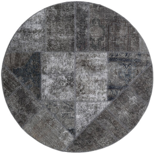 Patchwork - Persien/Iran Matto Ø 150 Moderni Käsinsolmittu Pyöreä Tummanharmaa/Vaaleanharmaa/Musta (Villa, Persia/Iran)