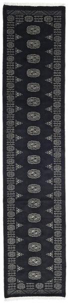 Pakistan Bokhara 3Ply Matto 77X354 Itämainen Käsinsolmittu Käytävämatto Musta/Tummanharmaa (Villa, Pakistan)