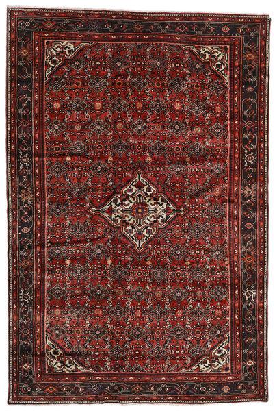 Hosseinabad Matto 198X298 Itämainen Käsinsolmittu Tummanpunainen/Tummanruskea (Villa, Persia/Iran)