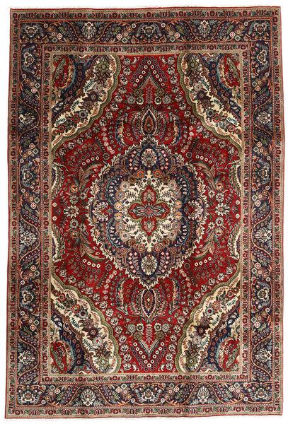 Tabriz Matto 195X288 Itämainen Käsinsolmittu Tummanpunainen/Tummanruskea (Villa, Persia/Iran)