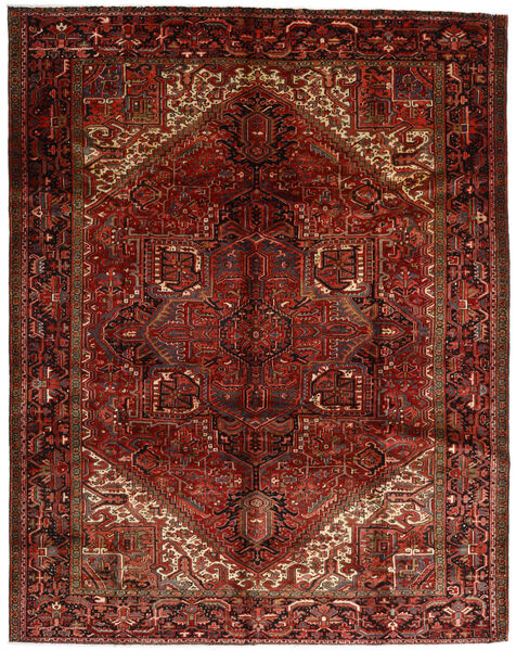 Heriz Matto 300X382 Itämainen Käsinsolmittu Tummanruskea/Tummanpunainen Isot (Villa, Persia/Iran)