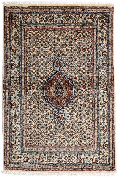Moud Matto 100X147 Itämainen Käsinsolmittu Tummanruskea/Vaaleanharmaa (Villa/Silkki, Persia/Iran)