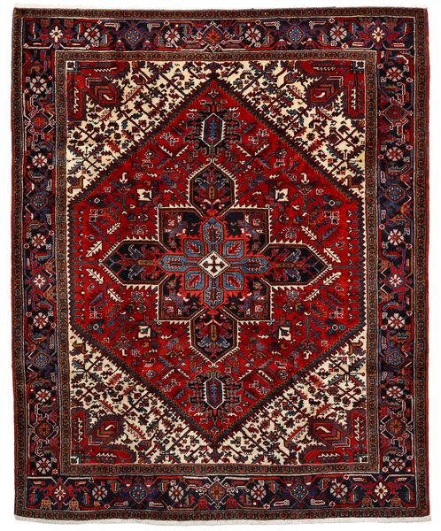Heriz Matto 220X275 Itämainen Käsinsolmittu Tummanpunainen/Tummanruskea (Villa, Persia/Iran)