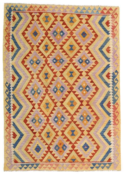 Kelim Afghan Old Style Matto 176X252 Itämainen Käsinkudottu Tummanbeige/Vaaleanpunainen (Villa, Afganistan)