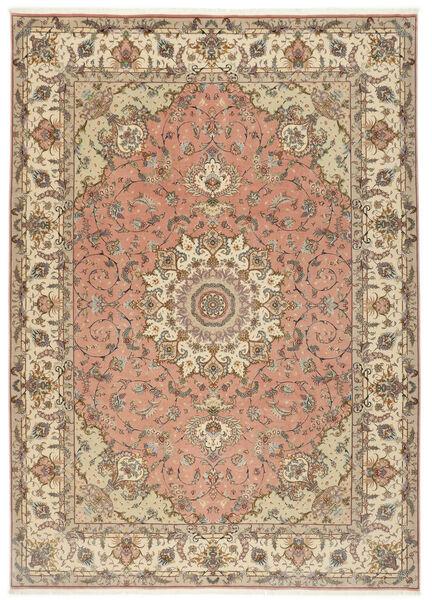 Tabriz 50 Raj Matto 250X348 Itämainen Käsinsolmittu Vaaleanruskea/Beige Isot (Villa/Silkki, Persia/Iran)