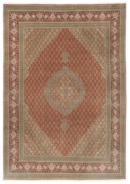 Tabriz 50 Raj Matto 250X355 Itämainen Käsinsolmittu Ruskea/Vaaleanruskea Isot (Villa/Silkki, Persia/Iran)