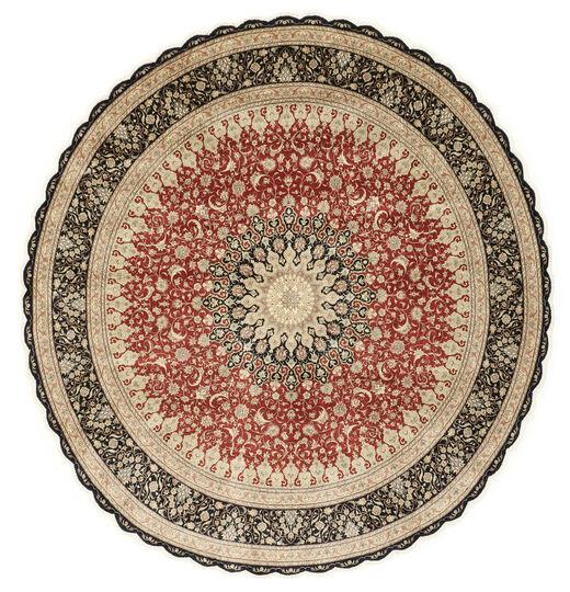 Ghom Silkki Matto Ø 203 Itämainen Käsinsolmittu Pyöreä Vaaleanruskea/Tummanbeige (Silkki, Persia/Iran)