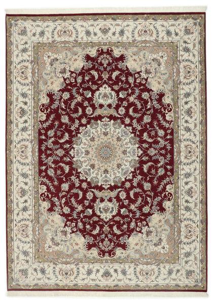 Tabriz 50 Raj Silkillä Matto 248X347 Itämainen Käsinsolmittu Vaaleanharmaa/Tummanpunainen (Villa/Silkki, Persia/Iran)
