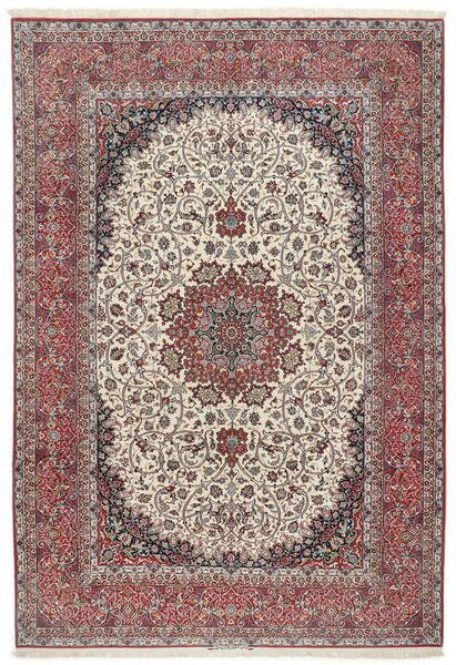 Isfahan Silkkiloimi Matto 255X374 Itämainen Käsinsolmittu Vaaleanharmaa/Ruskea Isot (Villa/Silkki, Persia/Iran)