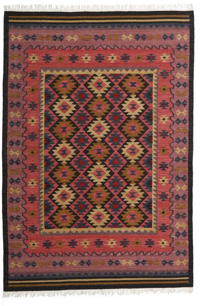 Kelim Marmaris Matto 200X300 Moderni Käsinkudottu Tummanpunainen/Tummanruskea/Musta (Villa, Intia)