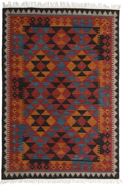 Kelim Isparta Matto 160X230 Moderni Käsinkudottu Tummanpunainen/Musta (Villa, Intia)