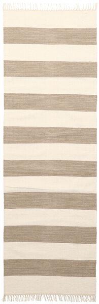 Cotton Stripe - Ruskea Matto 80X250 Moderni Käsinkudottu Käytävämatto Beige/Vaaleanharmaa (Puuvilla, Intia)