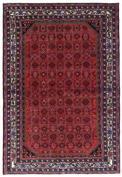 Hamadan Matto 146X212 Itämainen Käsinsolmittu Tummanpunainen/Punainen (Villa, Persia/Iran)