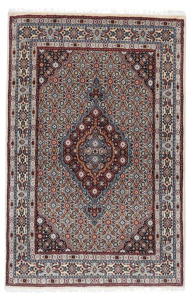 Moud Matto 100X153 Itämainen Käsinsolmittu Tummanruskea/Vaaleanharmaa (Villa/Silkki, Persia/Iran)