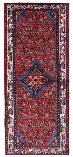 Hamadan Matto 80X190 Itämainen Käsinsolmittu Käytävämatto Tummanpunainen/Musta (Villa, Persia/Iran)
