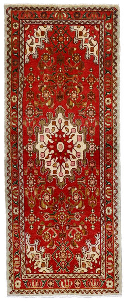 Hamadan Matto 70X175 Itämainen Käsinsolmittu Käytävämatto Ruoste/Tummanruskea (Villa, Persia/Iran)