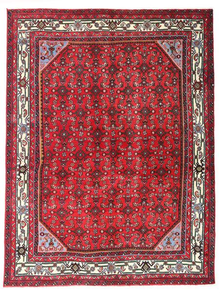 Hosseinabad Matto 150X198 Itämainen Käsinsolmittu Punainen/Tummanruskea (Villa, Persia/Iran)