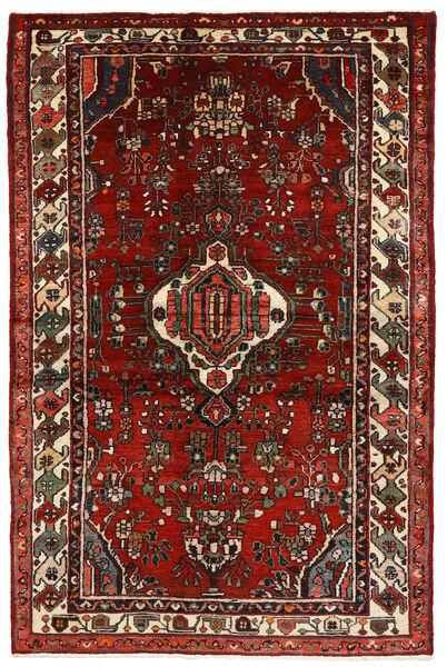 Hosseinabad Matto 133X204 Itämainen Käsinsolmittu Tummanpunainen/Tummanruskea (Villa, Persia/Iran)