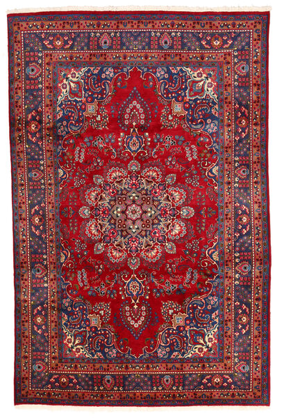 Mashad Matto 194X300 Itämainen Käsinsolmittu Tummanpunainen/Tummanvioletti (Villa, Persia/Iran)