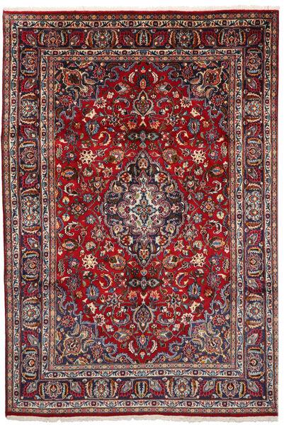 Mashad Matto 194X286 Itämainen Käsinsolmittu Tummanpunainen/Vaaleanharmaa (Villa, Persia/Iran)