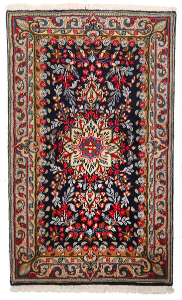 Kerman Matto 94X156 Itämainen Käsinsolmittu Tummansininen/Tummanpunainen (Villa, Persia/Iran)