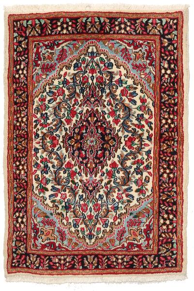 Kerman Matto 97X141 Itämainen Käsinsolmittu Musta/Tummanpunainen (Villa, Persia/Iran)