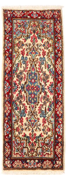 Kerman Matto 57X145 Itämainen Käsinsolmittu Käytävämatto Tummanpunainen/Beige (Villa, Persia/Iran)