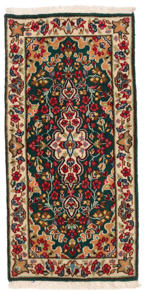 Kerman Matto 58X120 Itämainen Käsinsolmittu Tummanpunainen/Tumma Turkoosi (Villa, Persia/Iran)