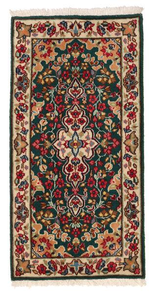 Kerman Matto 58X117 Itämainen Käsinsolmittu Tummanvihreä/Tummanpunainen (Villa, Persia/Iran)