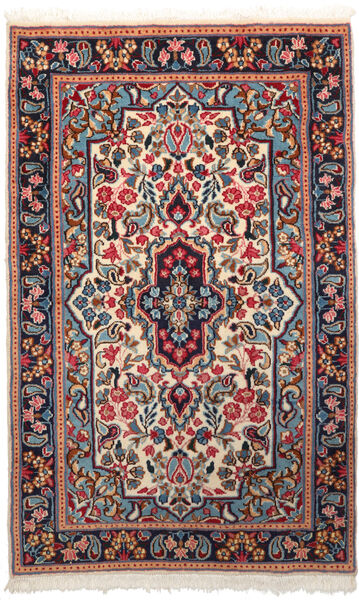 Kerman Matto 90X150 Itämainen Käsinsolmittu Tummanpunainen/Beige (Villa, Persia/Iran)