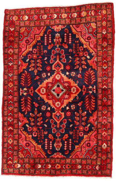 Hamadan Matto 130X205 Itämainen Käsinsolmittu Ruoste/Musta/Tummanpunainen (Villa, Persia/Iran)