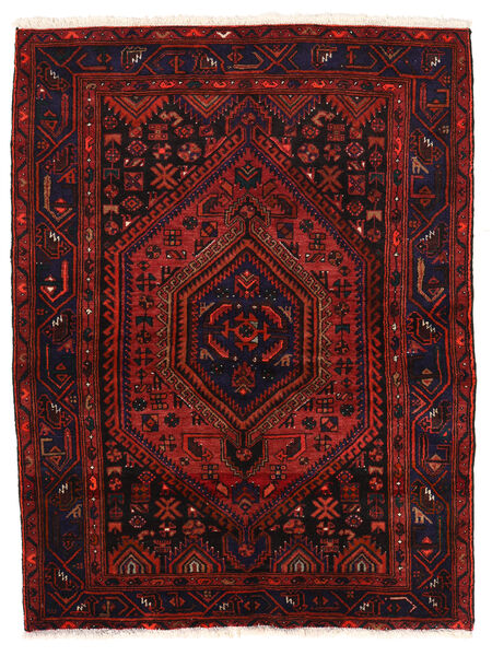 Zanjan Matto 142X190 Itämainen Käsinsolmittu Tummanpunainen (Villa, Persia/Iran)