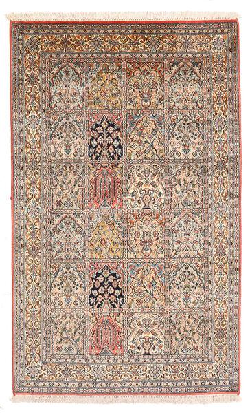 Kashmir 100% Silkki Matto 93X152 Itämainen Käsinsolmittu Tummanruskea/Vaaleanharmaa (Silkki, Intia)