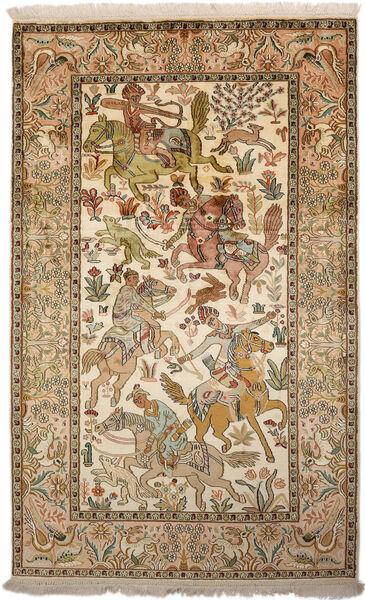 Kashmir 100% Silkki Matto 94X152 Itämainen Käsinsolmittu Ruskea/Tummanbeige (Silkki, Intia)