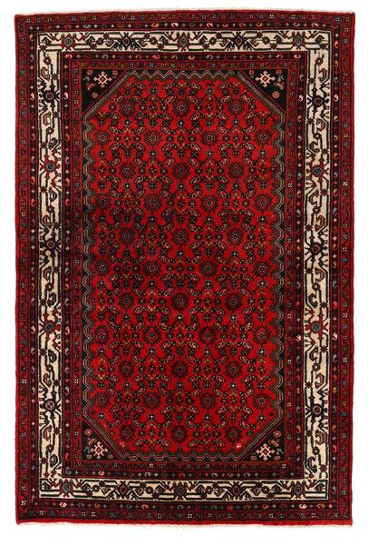 Hosseinabad Matto 133X205 Itämainen Käsinsolmittu Tummanpunainen (Villa, Persia/Iran)