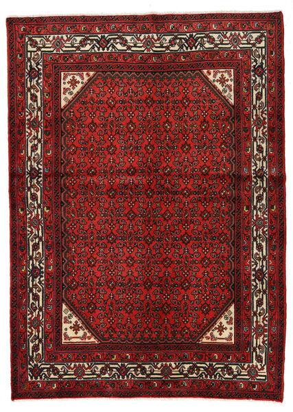 Hosseinabad Matto 146X205 Itämainen Käsinsolmittu Tummanpunainen/Ruoste (Villa, Persia/Iran)